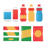 Fast food snacks and drinks flat  icons. Vending machine products Stock Images