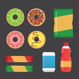 Fast food snacks and drinks flat  icons. Vending machine products Royalty Free Stock Images