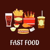 Fast food snacks and drinks set in flat style Royalty Free Stock Images