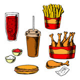 Fast food snacks and drinks set Royalty Free Stock Photography