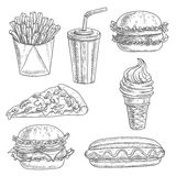 Fast food snacks and drinks sketch icons Royalty Free Stock Images