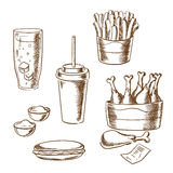 Fast food snacks and drinks sketch icons Royalty Free Stock Photos