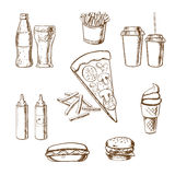 Fast food snacks and drinks sketches Stock Photos