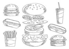 Fast food snacks and drinks sketches Stock Photography