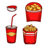 Fast food snacks, drinks vector isolated icons Stock Photos