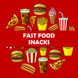 Fast food snacks label for menu card cover Stock Photography