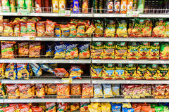 Fast Food Snacks For Sale On Supermarket Shelf Royalty Free Stock Image