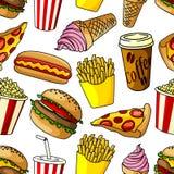 Fast food snacks seamless pattern Stock Image