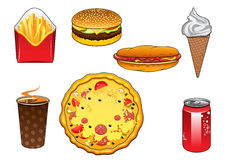 Fast food snacks, soda can and ice cream Royalty Free Stock Images