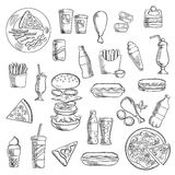 Fast food snacks and takeaway drinks. Fast food and takeaway icons of pizza, burger, hot dogs, french fries with sausage and sauce cups, fried chicken legs, cups royalty free illustration