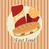 Fast food sobre o fundo amarelo Ilustração Stock