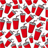Fast food soda paper cups seamless pattern Stock Photos