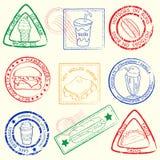 Fast Food Stamp Set royalty free illustration