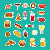 Fast Food sticker set. Signs of feed. Icon Collection of meat. Royalty Free Stock Photo