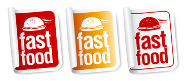 Fast Food stickers. Stock Photos