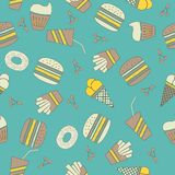 Fast food stickers icons seamless pattern Stock Photo
