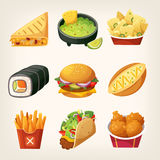 Fast food stickers. Set of colorful takeaway food to find at street food trucks and in chain fastfood cafes Stock Photography