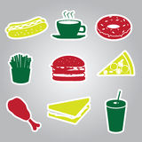 Fast food stickers set eps10. Color fast food stickers set eps10 Stock Illustration