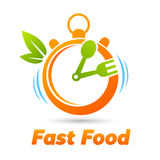 Fast Food Stopwatch. Fast Food (Stopwatch with spoon Stock Images