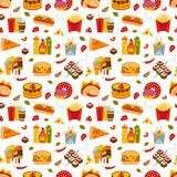 Fast food and streetfood seamless pattern. Vector illustration Royalty Free Stock Photography