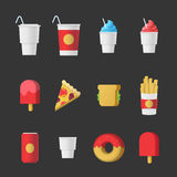 Fast food, sweet desserts and beverages icon set Stock Photography