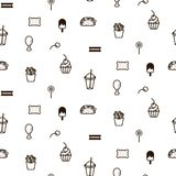 Fast food sweet icon style seamless vector pattern. Monochrome fun doodles background for site and wrap paper Stock Image