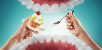 Fast food and sweets. View from mouth. Fast food and sweets. Diet Stock Photos