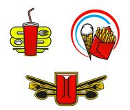 Fast food symbols Royalty Free Stock Photos