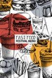 Fast food sztuka Grawerujący stylowy projekt z wektorowym rysunkiem dla logo, ikona, etykietka, pakuje, plakat Uliczny karmowy fe royalty ilustracja
