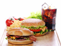 Fast food on the table Royalty Free Stock Photo