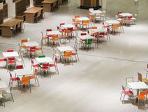 Fast-food tables. Row of empty tables in fast-food restaurant stock images