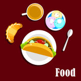 Fast food taco, coffee, croissant and ice cream Stock Photos