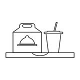 Fast food take out box and plastic cup soda outline Stock Photo