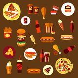 Fast food and takeaway drinks icons. Including pizza, burger, hot dogs, french fries with sausage and sauce cups, fried chicken legs, cups of coffee, soda, ice royalty free illustration