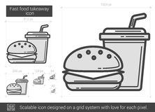Fast food takeaway line icon. Stock Image