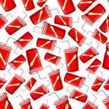 Fast food takeaway soda drinks seamless pattern Stock Images