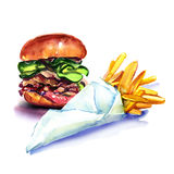 Fast food, tasty burger, hamburger, and french fries, fried potatoes, in paper bag, isolated, watercolor illustration Royalty Free Stock Image