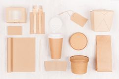 Fast food template for branding identity - blank kraft paper notebook, coffee cup, label, card, box for noodles, sushi, soup. Fast food template for branding stock images