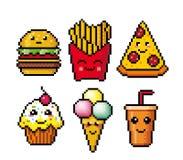 Fast food Teste padrão feliz sem emenda da família do pixel art Ícones dos desenhos animados Projeto bonito fotos de stock royalty free