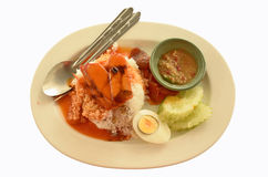 Fast food Thai style. Red pork and rice with red sauce Stock Photo