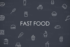 Fast Food Thin Line Icons Royalty Free Stock Photos