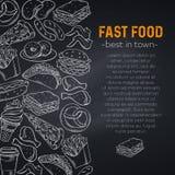 fast food tirado mão ilustração stock