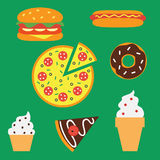 Fast food. Traditional fast food. Flat design. Icons on green background stock illustration