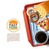 Fast food tray background poster Stock Images