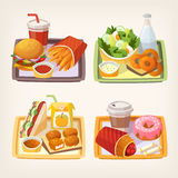 Fast food on tray. Tasty fast food and street food lunch on a tray. Quick meal dishes. Set of vector illustrations royalty free illustration