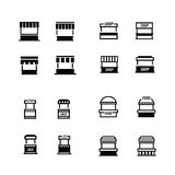 Fast food trolley icons set Stock Images