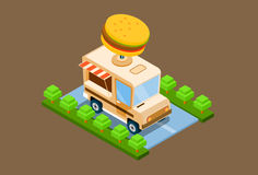 Fast Food Truck Delivery Cafe 3d Isometric Design Stock Photography