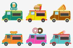 Fast Food trucks. Set of street shops on van - Beer, Donut, Burger and French fries, Hot Dog, Ice Cream, Pizza. Vector. stock image
