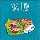 Fast food with twisted pita looks like gyros Stock Photo