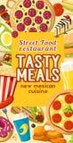 Fast food ulica przekąsza restauracyjnego wektorowego menu ilustracja wektor